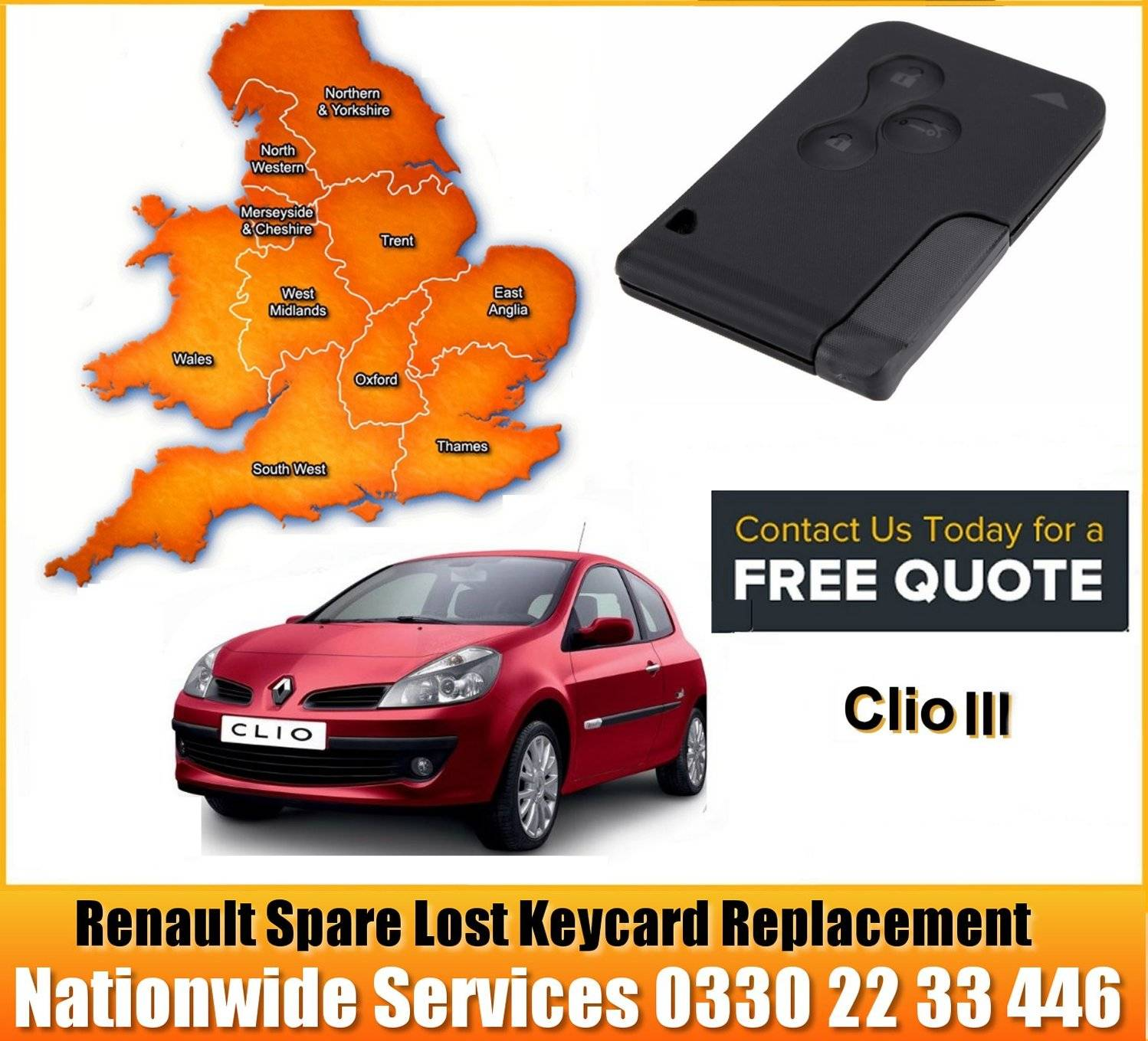 Renault Replacement Remote Key Card Barrow-in-Furness. Askam and Ireleth Dalton-in-Furness Walney Island