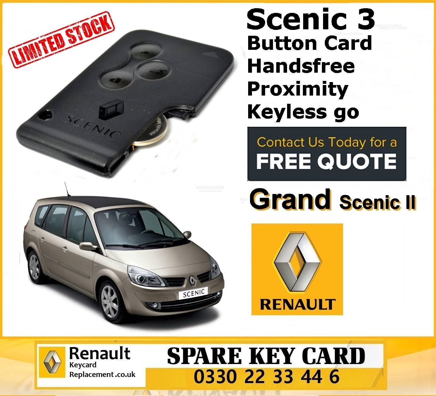 OEM Renault Scenic 3 Button Card Handsfree/Proximity/Keyless