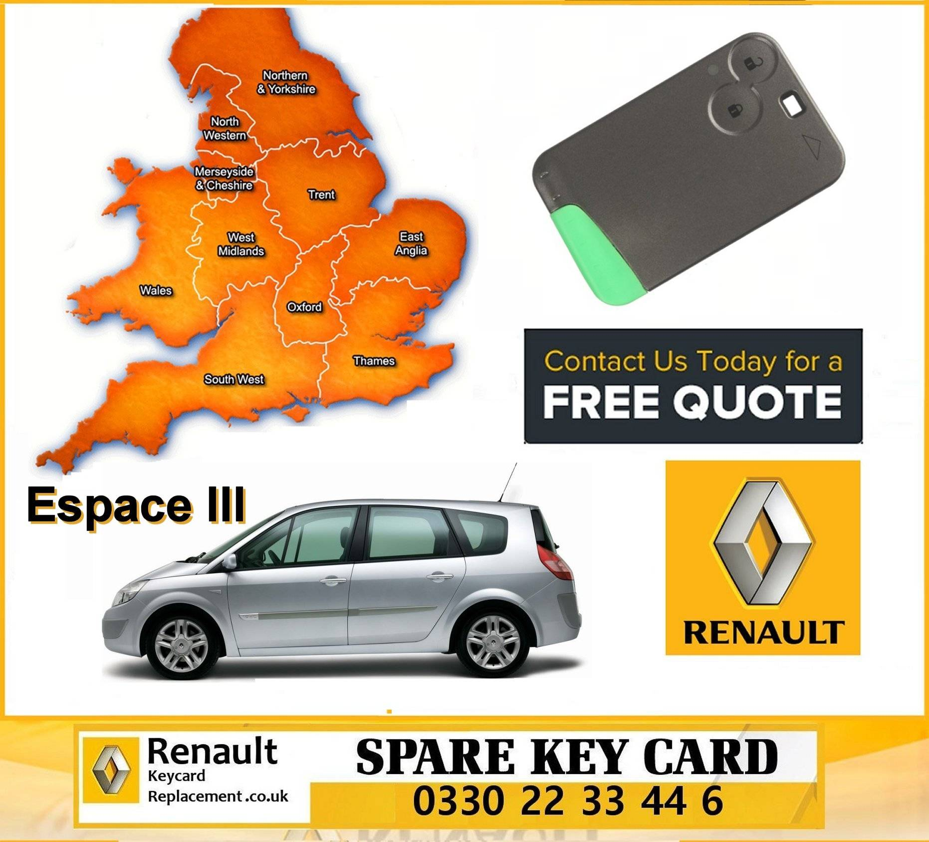 Renault Espace replacement key card programming repair services manchester