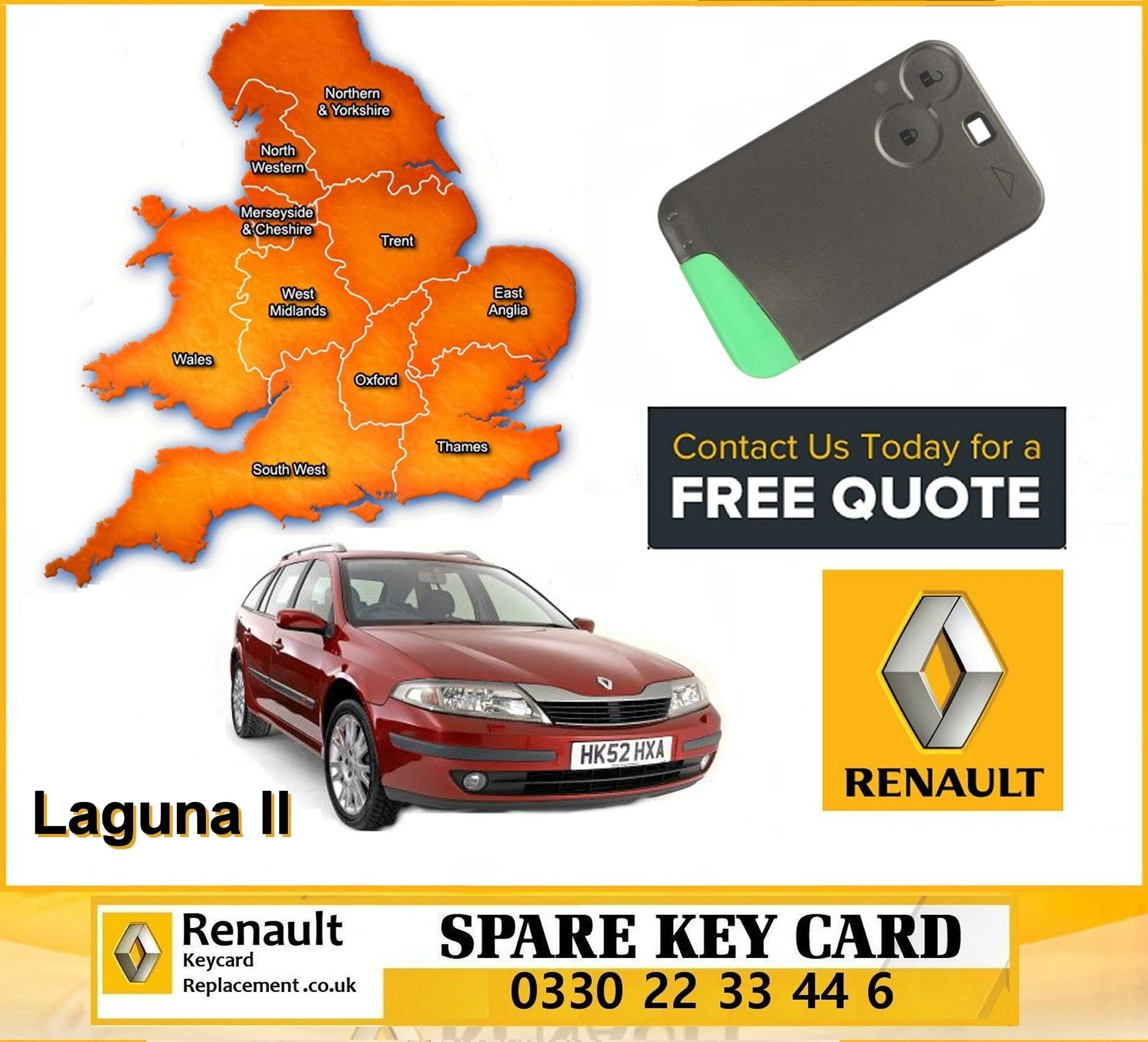 Renault Laguna 2000 - 2007 replacement key card programming repair services manchester