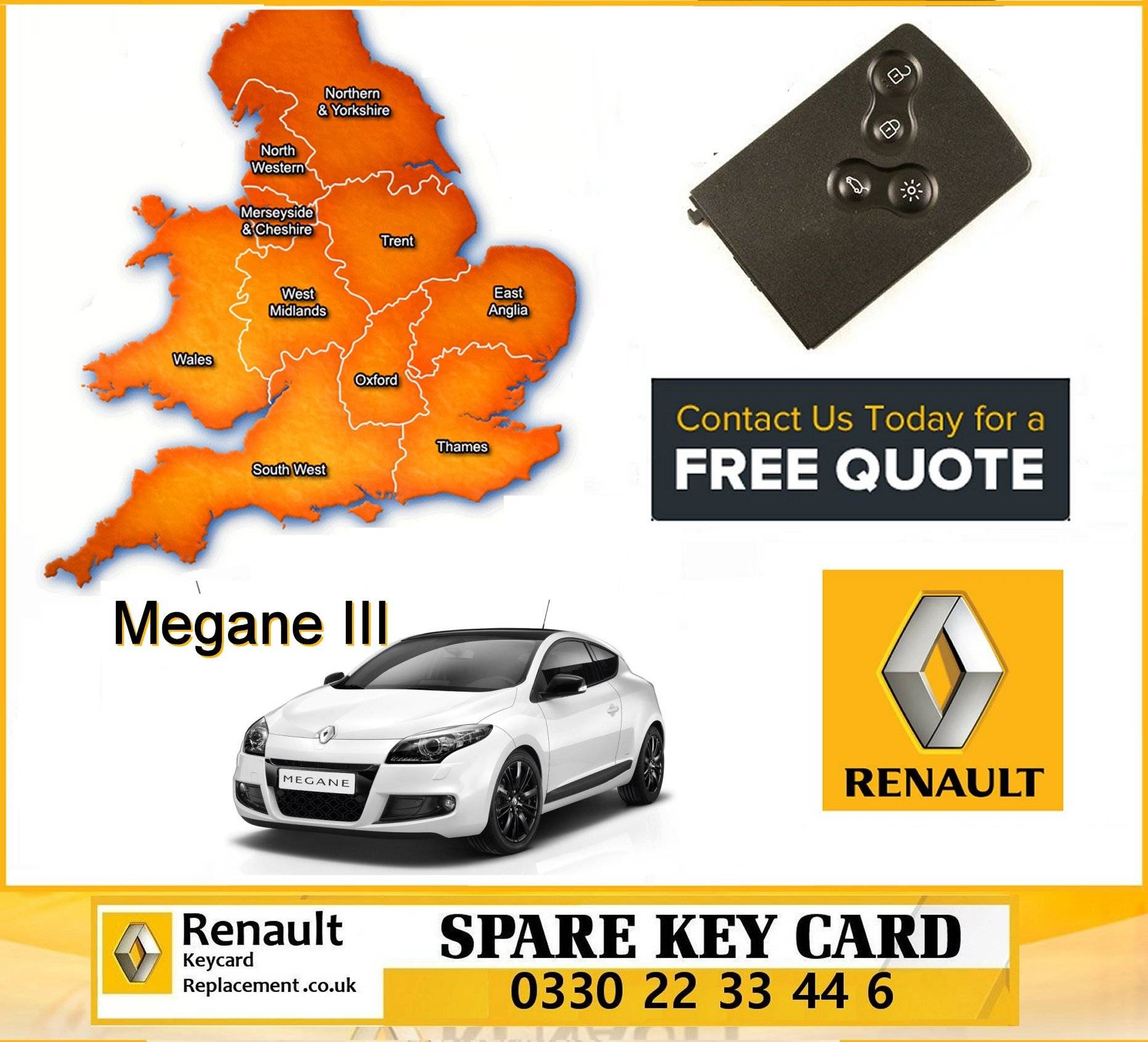 Renault Megane III 2008 - 2016 replacement key card programming repair services manchester
