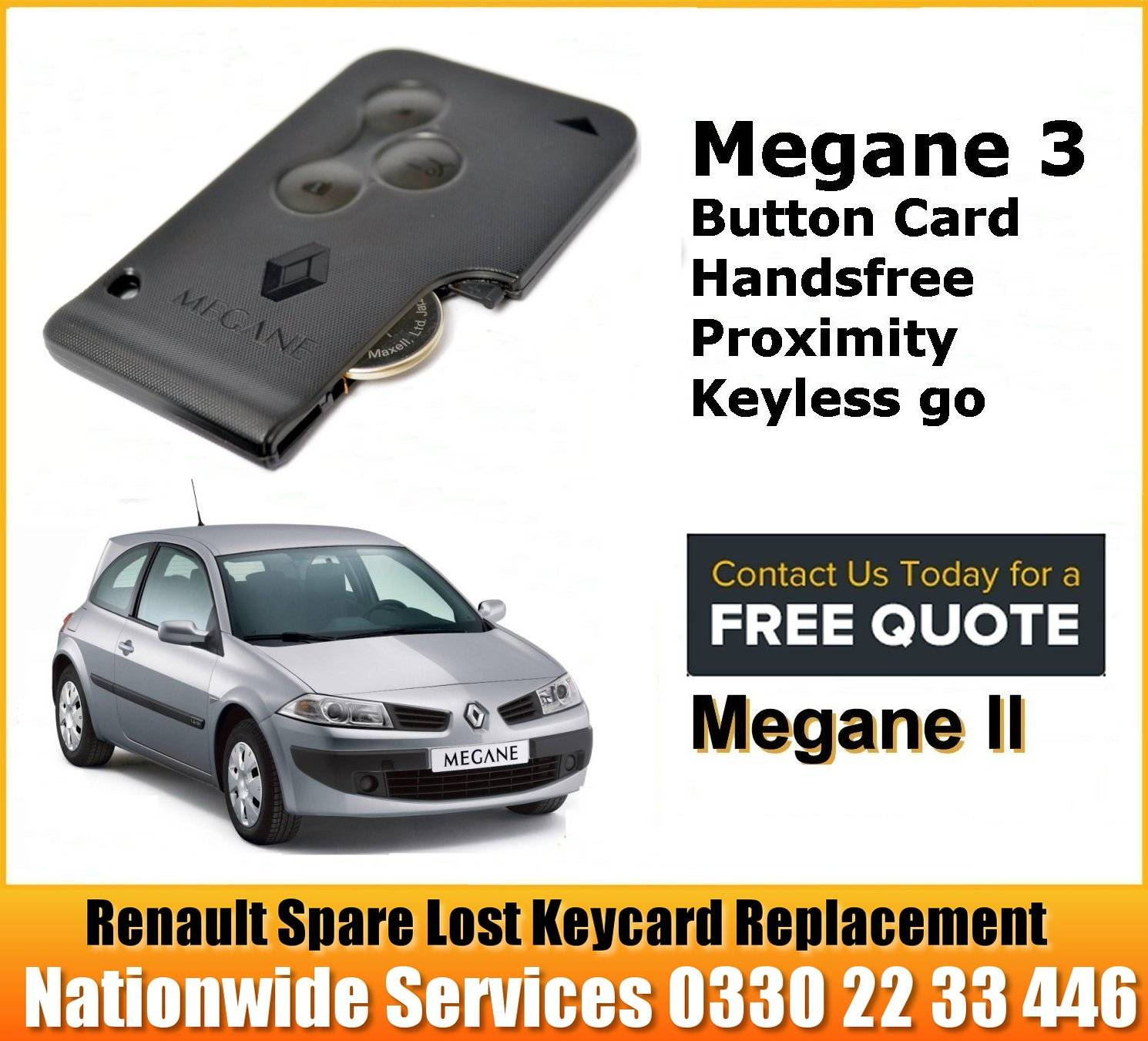 Renault Megane 2003 -2008 replacement key card programming repair services manchester