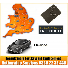 Renault Fluence 2013 Replacement 4 Button Remote Key Card, image