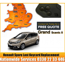 2009 Renault Grand Scenic Replacement 4 Button Remote Key Card, image