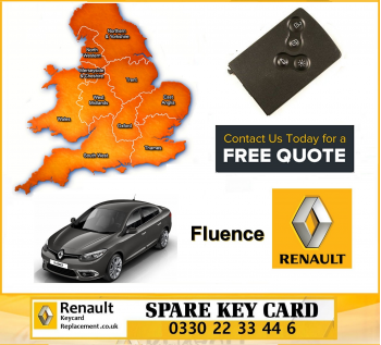 Renault Fluence 2014 Replacement 4 Button Remote Key Card
