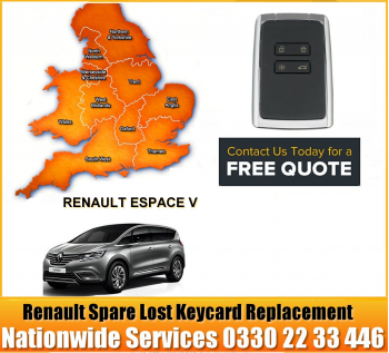 Renault Grand Espace V 2016 Replacement Remote Key Card, image