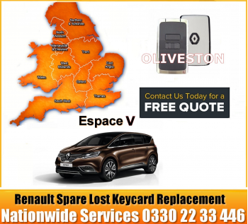 Renault Grande Espace V 2019 Replacement 4 Button Remote Key Card Spare Lost Key Programming Services, image