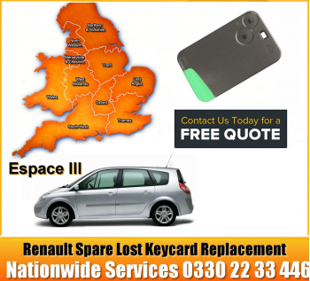 Renault Espace 2002 Replacement Remote Key Card, image