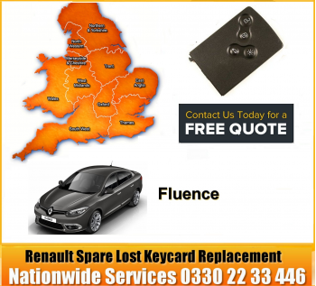 Renault Fluence 2010 Replacement 4 Button Remote Key Card, image