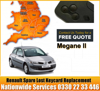 Renault Megane 2004 Replacement 3 Button Remote Key Card, image