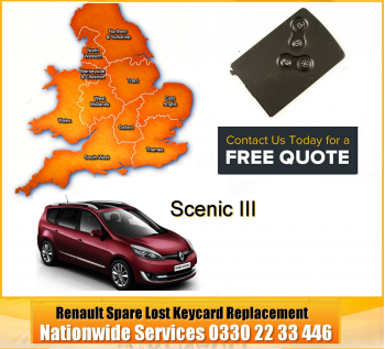 2013 Renault Scenic Replacement 4 Button Remote Key Card, image