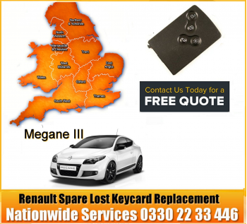 Renault Megane 2009 Replacement 4 Button Remote Key Card, image